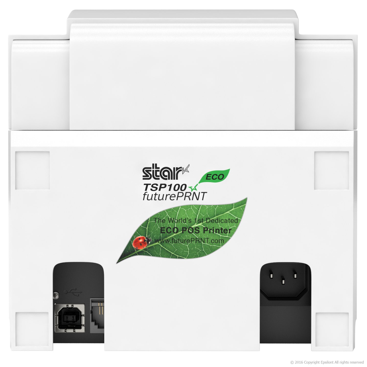 Square POS Compatible Star Micronics TSP143IIILAN Thermal Network Ethernet LAN Receipt Printer and 10 Rolls of Epsilont Thermal Receipt Paper 3-1/8 x 230ft (White)