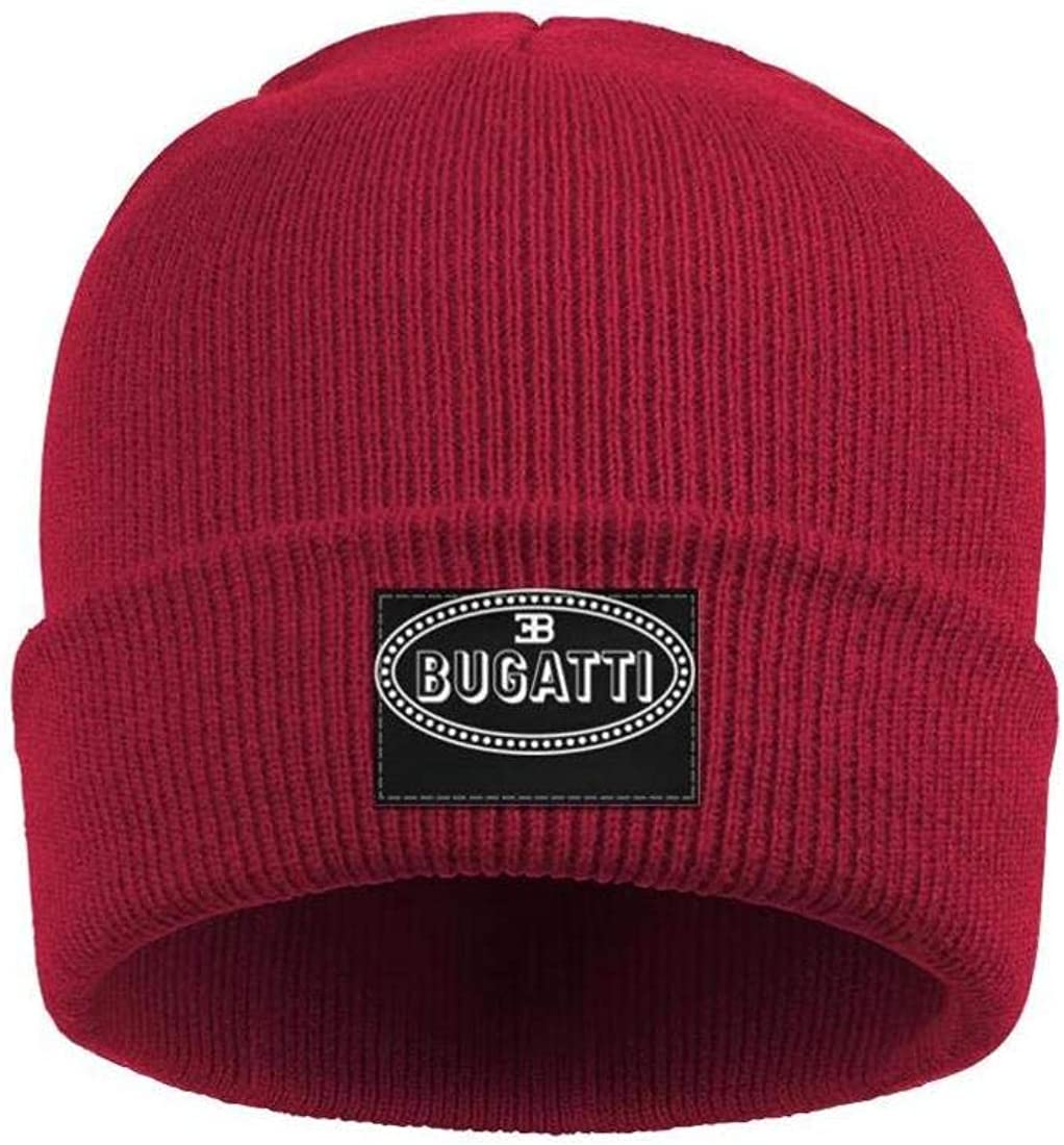 HOUYL Mens Womens Winter Hat Bugatti-Logo Style Warm Woolen Sport Skull Cap