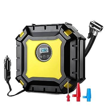 WULAU Compresor de Aire portátil,Compresor Automático Bomba inflador con luz 9 LED (DC