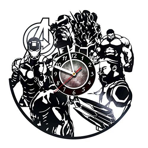 Iskra Shop Avengers Marvel - Vinyl Record Wall Clock - Comics - Get unique living room wall decor - Gift ideas for friends, teens, children, men and women, boys and girls - Comics Books Films