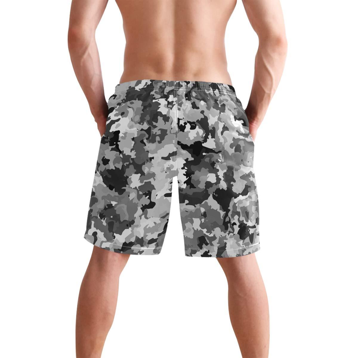 Camouflage Mens Trunks Beach Board Shorts Drawstring Waist Mesh Lining