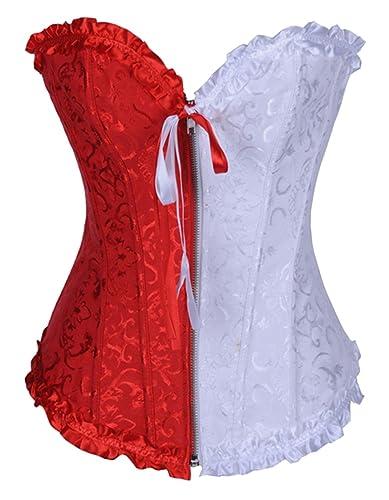 Charmian Women's Burlesque Sweetheart Satin Laces Boned Overbust corsé Bustier