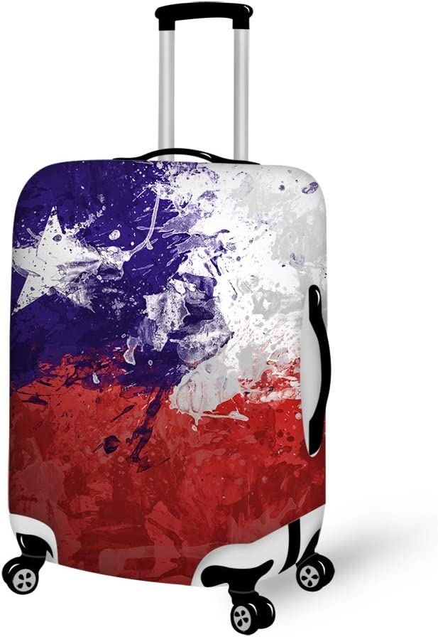 Drawing Chile Flag Art Washable Travel Luggage Cover Elastic Suitcase Trolley Protector Cover for 22-24 inch Luggage