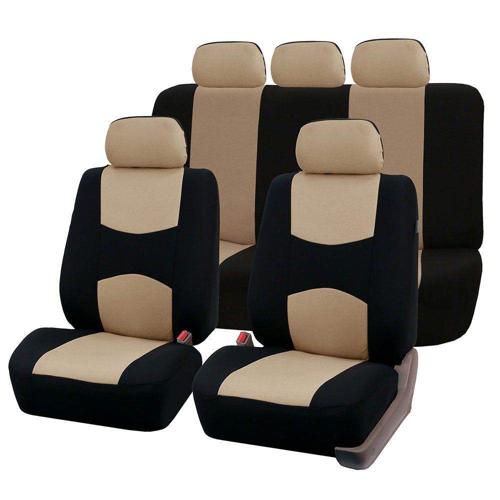 FH-FB051115 Multifunctional Flat Cloth Car Seat Covers, Airbag compatible and Split Bench, Solid Black color FH Group