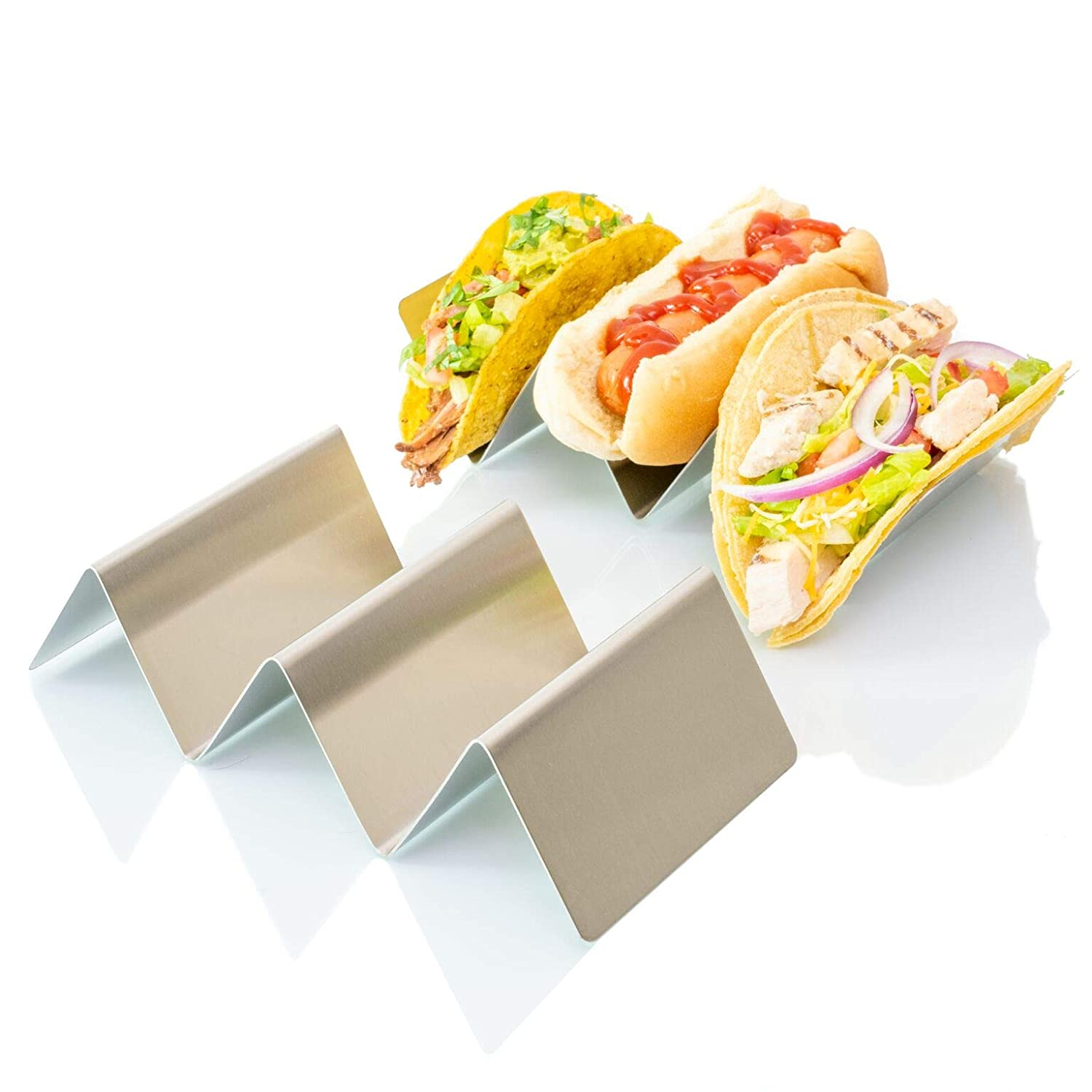 "Taco Holder Stand Rack, Stainless Steel 4-Pack, Mexican Food Serving Tray. Stands Hold Up To 3 Tacos, Burritos, Hot Dog, And More!. Grill And Oven Use Safe, Dishwasher Safe For Easy Cleaning, 4"" x 8"""