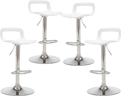 THKSBOUGHT Set of 4 Modern Bar Stools Plastic Adjustable Counter Height Swivel Stool Matte White
