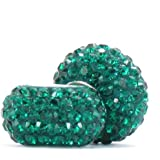 BELLA FASCINI Set of 2 Emerald Green Crystal Pave Charm Beads Silver Fits European Bracelets