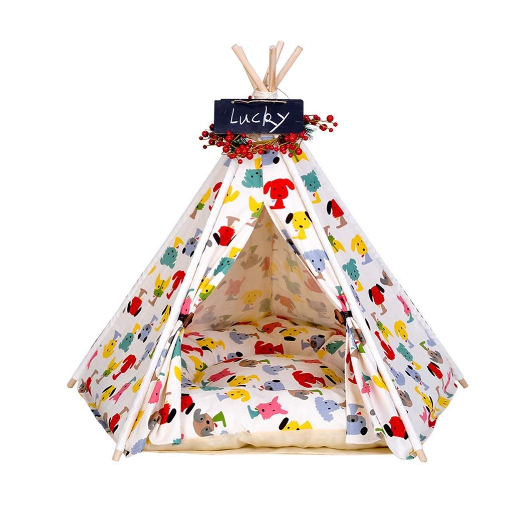 L(606070cm) Dog Teepee, Washable Cat Nest Four Seasons Universal Washable Doghouse Sofa Bed Teddy golden Hair Medium Large Dogs Pet Tent Supplies (Size   L(60  60  70cm))