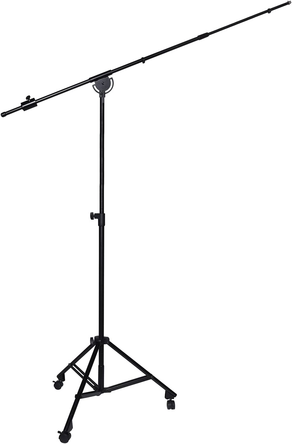 """LyxPro SMT-2 Professional Microphone Stand Heavy Duty 90"""" Studio Overhead Boom Stand with Rolling Casters, 87"""" Extra Long Telescoping Arm Mount, Foldable Tripod Legs & Adjustable Counterweight"""