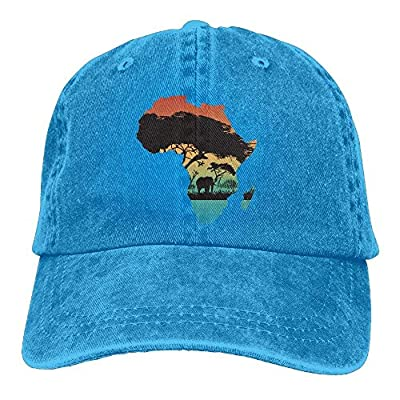 Eveler Africa Map Baseball Caps Printed Adjustable Snap Back Flat Bill Cowboy Hats