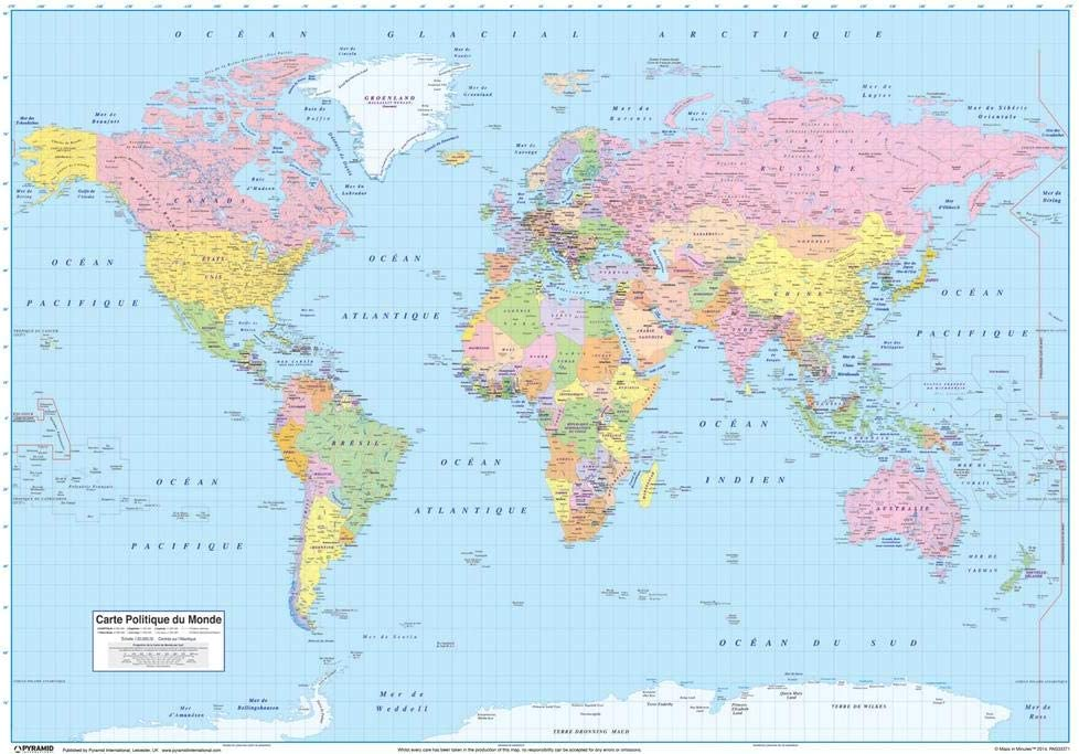 carte politique du monde World Map in French Francaise Educational Reference Poster 12x18
