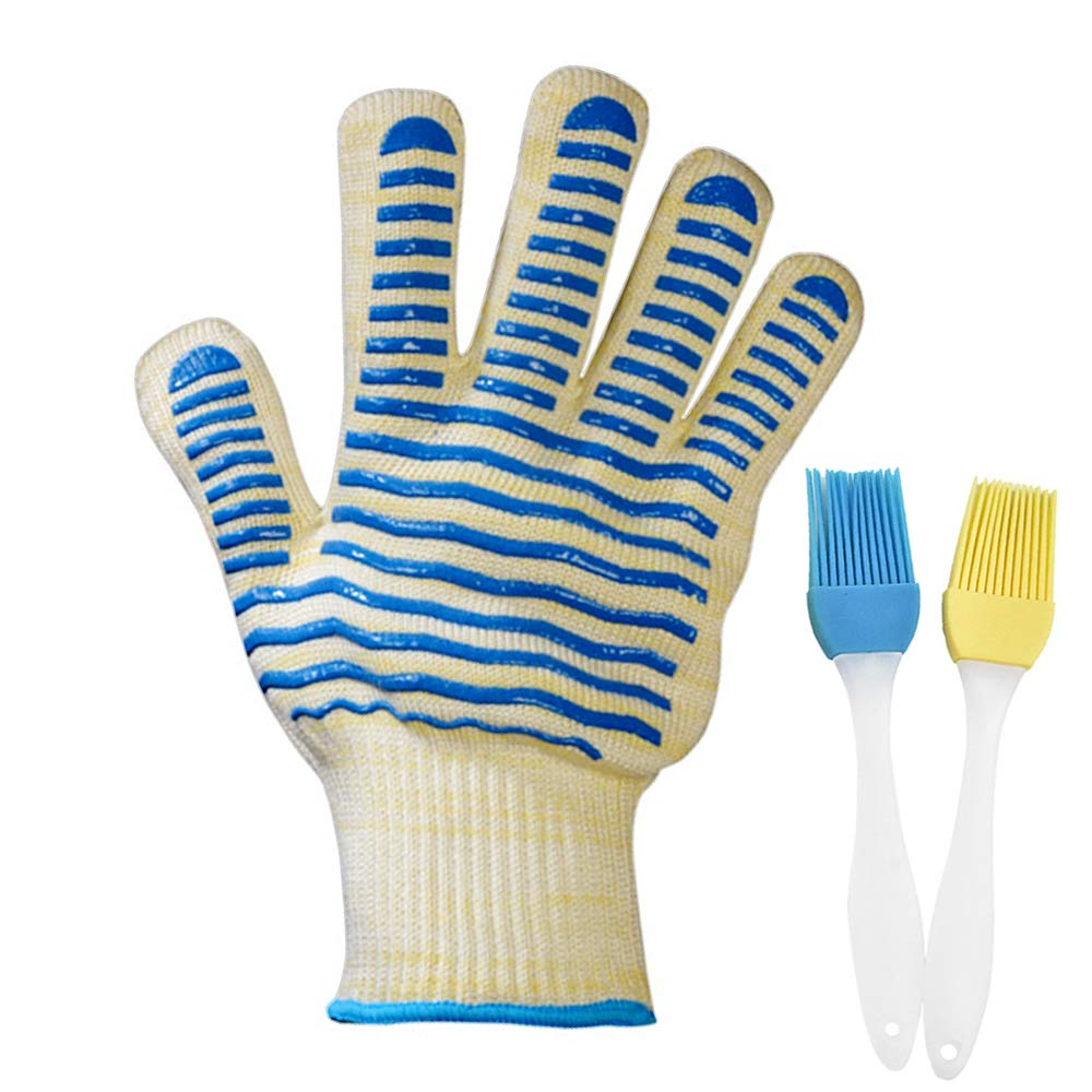 QIJIN Oven Glove Retardant Cooking Gloves For Cooking, Grilling, BBQ, Frying & Baking - Professional Indoor & Outdoor Wear-resistant Oven Glove (Blue (1 pair)