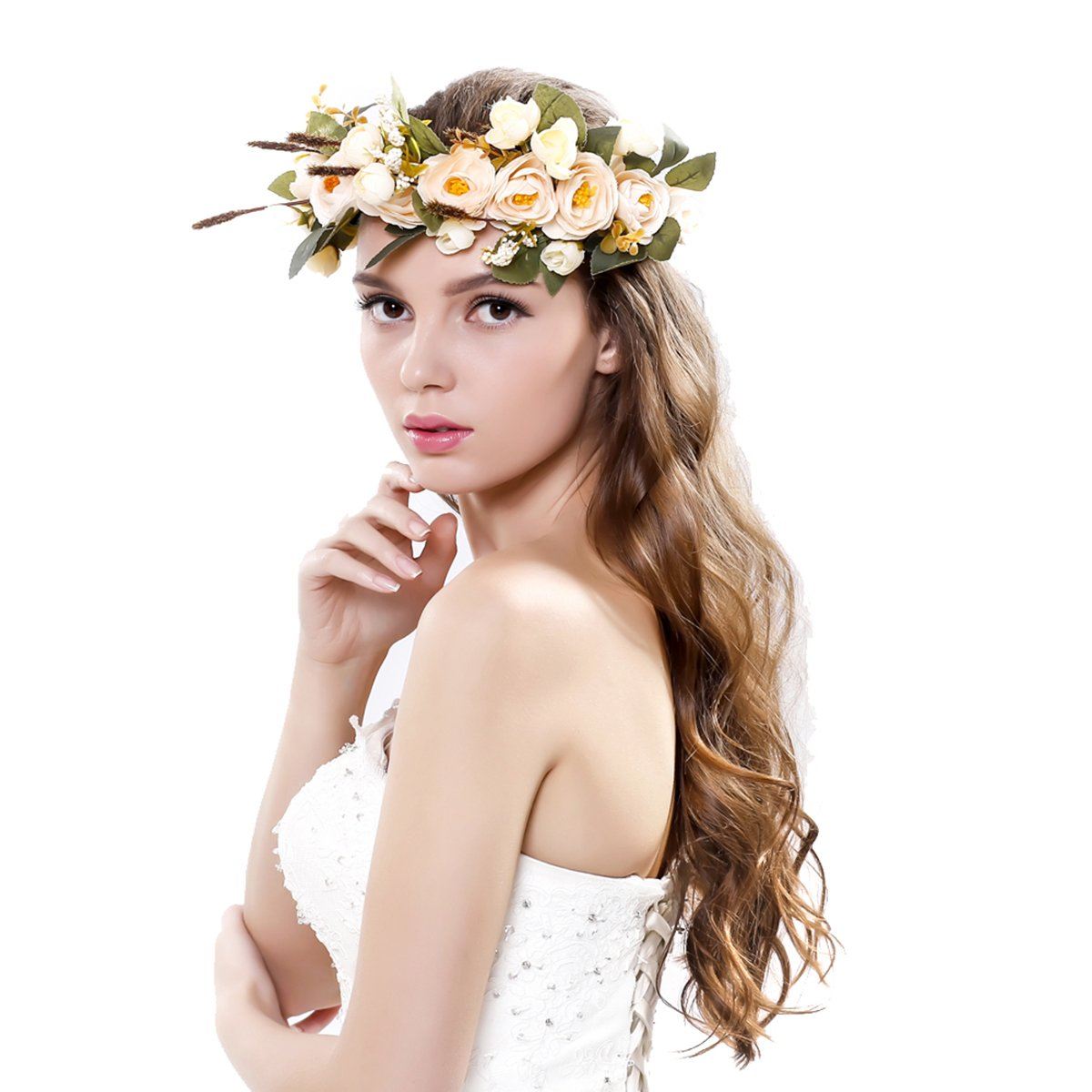Women handmade Rose Flower Crown with Adjustable Ribbon Wedding Festivals