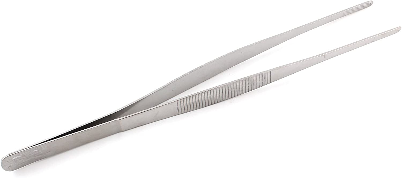 10pcs Stainless Steel Food Tongs Clips Multi-functional Straight Tweezers 25cm