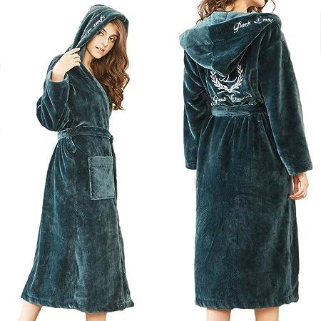 HXGpajamas Bata con Capucha para Mujer Albornoz con Cuello Chal Y Toalla De Felpa 100% Algodón Bata Verde Oscuro Cómodo (Size : M): Amazon.es: Hogar