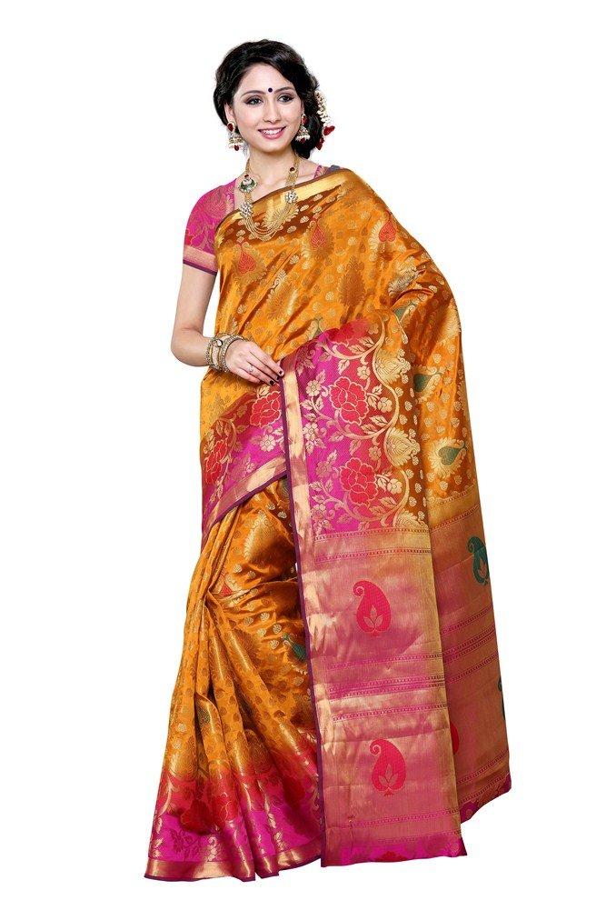Mimosa Women's Traditional Artificial silk Saree Kanchipuram.