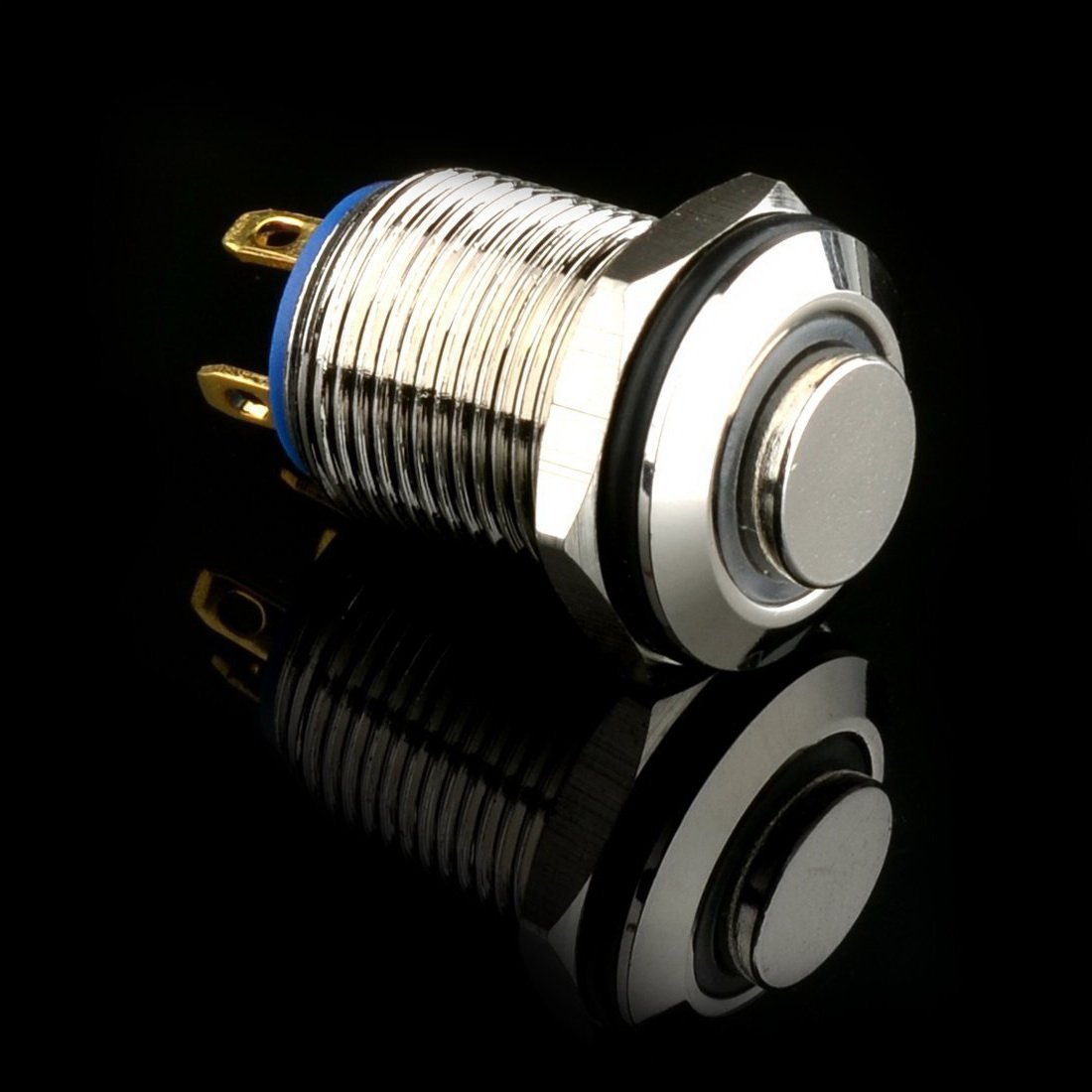Flyshop 12mm 1//2 Momentary Push Button Switch High Round Waterproof Stainless Steel 4 Pins 12V Yellow LED 3A