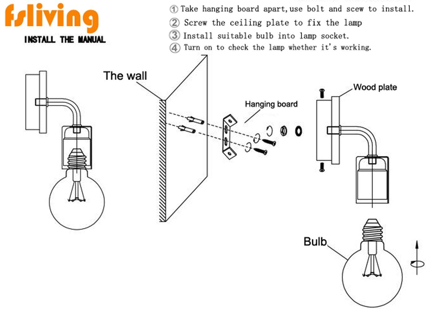 Fsliving Vintage Loft Style Wooden Base Wall Lights Metal Lamp Diagram For Wiring A Light Bulb L Socket On Minimalist Indoor Sconces Uk Plug E27 Holder Inline Button Switch Lighting
