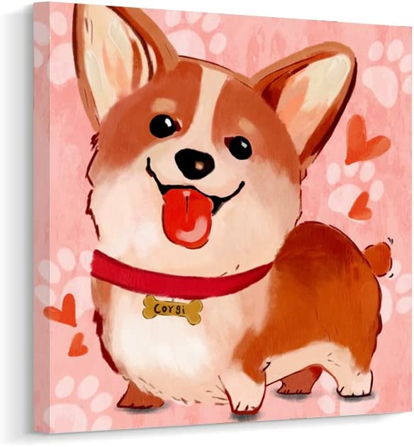Cartoon Cute Corgi Dog Canvas Wall Art Print Picture for Kids Room (A, 12 x 12 inch)