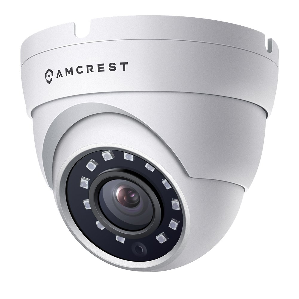 Amcrest Full HD 1080P 1920TVL Dome Outdoor Security Camera (Quadbrid 4-in1 HD-CVI/TVI/AHD/Analog), 2MP 1920x1080, 98ft Night Vision, Metal Housing, 3.6mm Lens 90° Viewing Angle, White (AMC1080DM36-W)