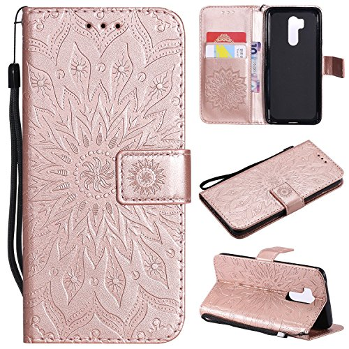 - Ostop Leather Wallet Case for LG G7,LG G7 ThinQ, Embossed Magnetic Flip Cover Holster with Credit Card Slot,Wrist Strap and Stand Feature,Sunflower-Rose Gold