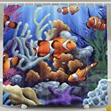 Clown Fish Shower Curtain Arsmt Custom Shower Curtain with Hooks Sea Underwater Clown Fish Mildew Resistant Bathroom Decor (One Size, Sea Underwater Clown Fish)