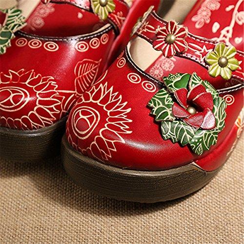 on Colorato Socofy In Pantofola Scarpe Slip Piatti Fiore Fannullone Vintage Estivi Oxford Slipper Di Backless Da Pelle Mocassini Donna Sandali Rosso Estiva xxzqTwS5