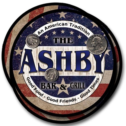 Ashby Family Bar and Grill Rubber Drink Coaster Set - Patriotic Design