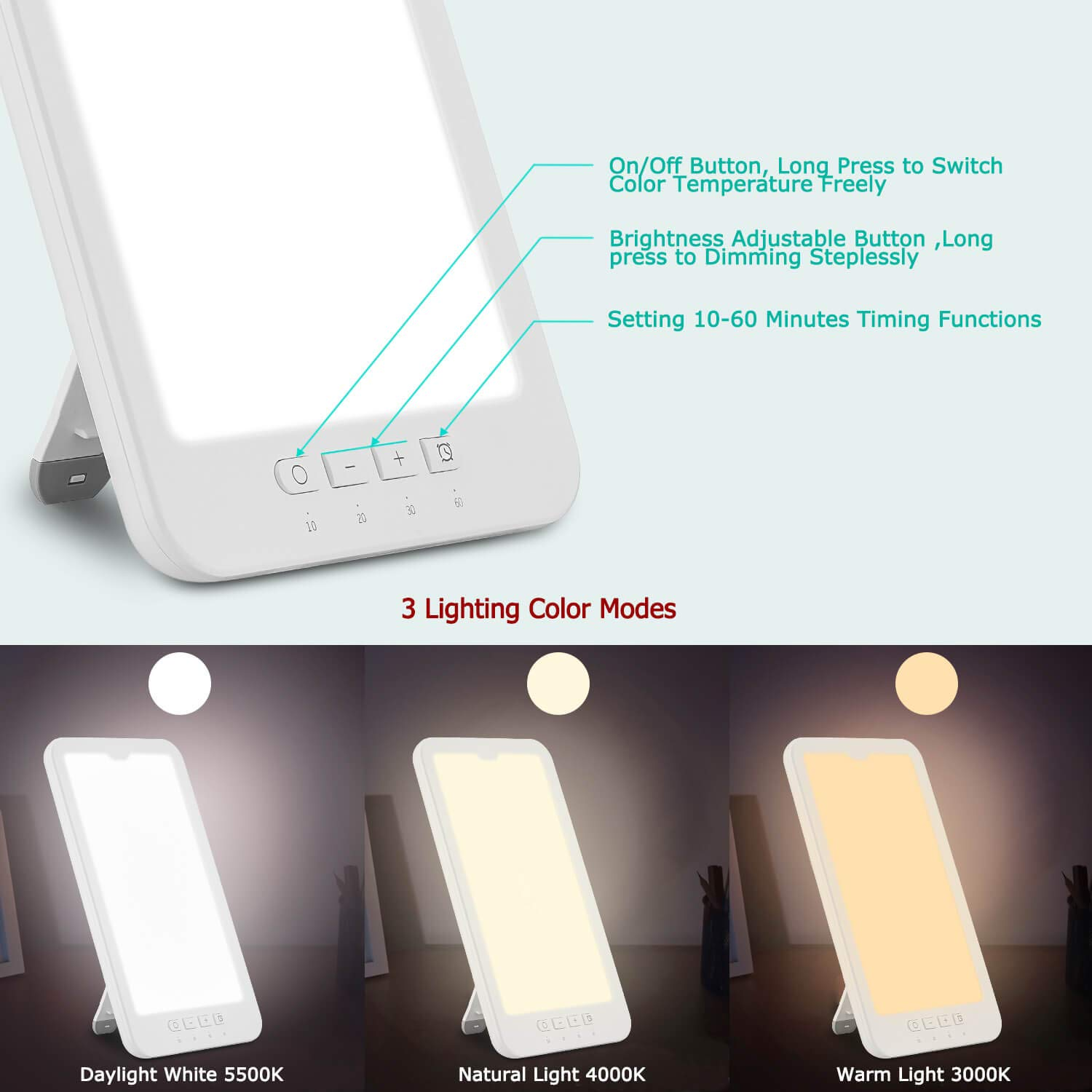 Azhien 10000 Lux SAD Light Daylight Lamp,Effective Sunlight Energy Lamp, Portable UV Free Led Light Box with 3 Adjustable Brightness Color Temperature and Timer, Sunlight Lamp for Winter Depression