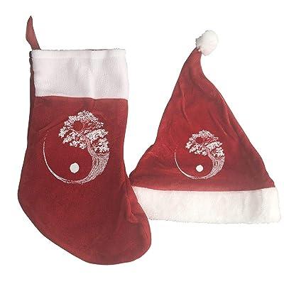 Yin Yang Bonsai Tree Festival Celebration Xmas Hat and Stocking Gift Red: Clothing
