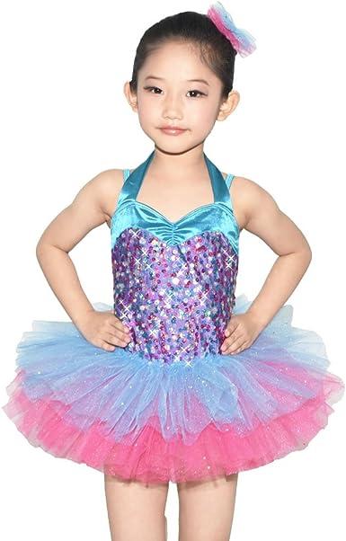MiDee Girls Decorative Border Halter Ballet Dance Costume Tutu Party Dress