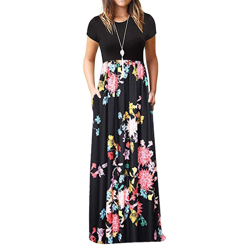 Women's Formal Dress,LuluZanm Sales! Ladies O-Neck Print Vintage Long Maxi Dress Prom Short Sleeve Cocktail Dresses