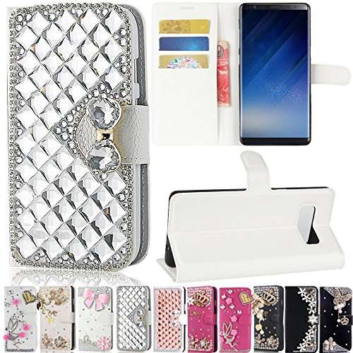 Galaxy Note 8 Case, Best Share Manual Bling Flip Stand PU Leather Wallet Full Cover Silicone Case Card Slot for Samsung Galaxy Note 8, White-Silver Crystal -