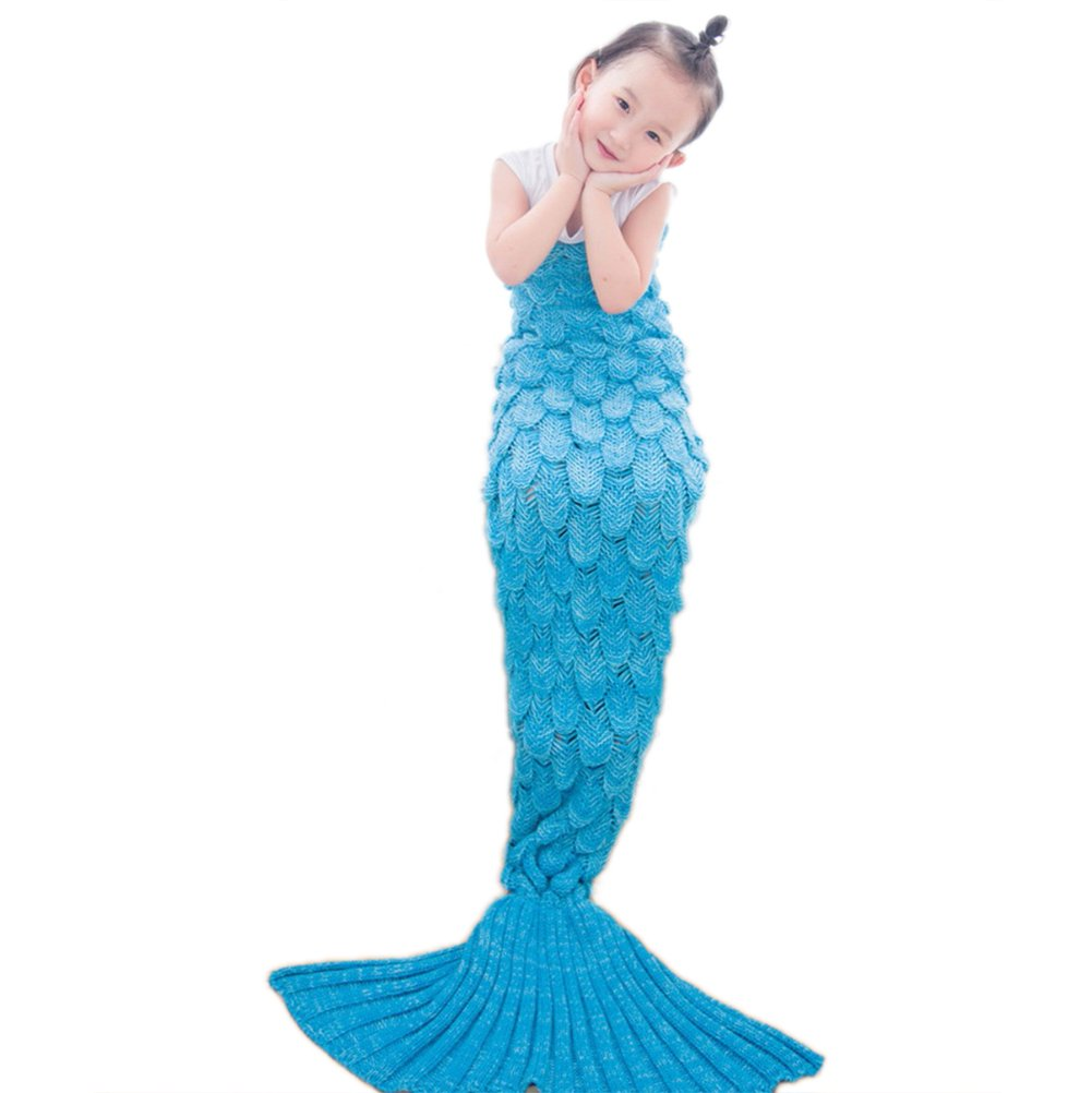 Airdom Mermaid Tail Blanket for Kids Toys Little Crochet Mermaid Blankets Best Birthday for Girls All Seasons Sleeping Throws 55.18 inch x 27.56 inch(A-Scaly-Kids-Blue) by Airdom (Image #2)
