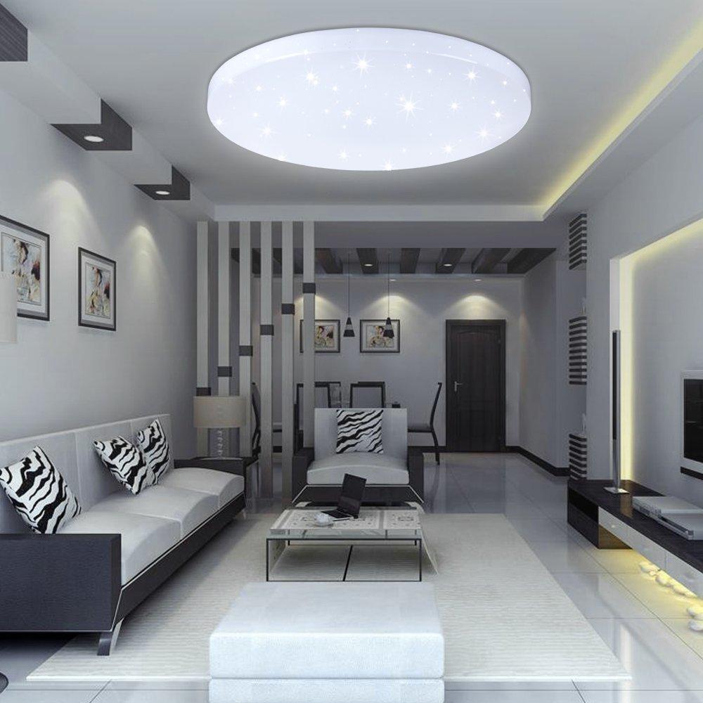 VINGO 16W LED Deckenbeleuchtung rund Deckenlampe Starlight Effekt schön Wohnraum Wohnzimmer Lampe Weiß [Energieklasse A++] A-1-HG3393