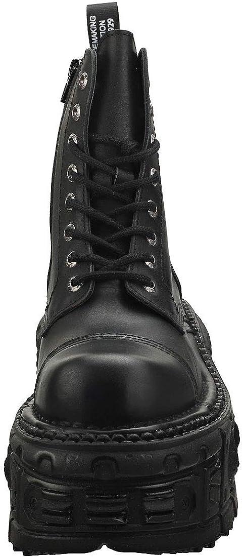 New Rock Metallic M-mili084n-s5 Unisex Black Leather Platform Boots