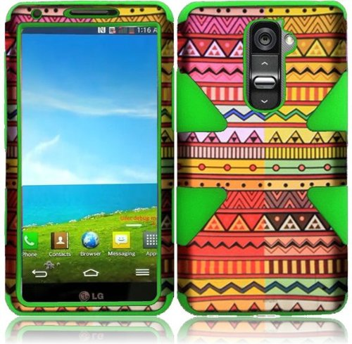 Colorful Antique Work Double Protection Hi-Tech DURABLE Two in One Hard and Silicon Cover Case for LG G2 VS980 D800 (by AT&T / T-Mobile / Sprint / Verizon) with Free Gift Reliable Accessory Pen (T Mobile Cell Phones Lg G2)