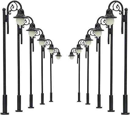 10pcs 1:100 Model Railway Train Lamp Post Street Lights HO OO Scale LEDs Lamp