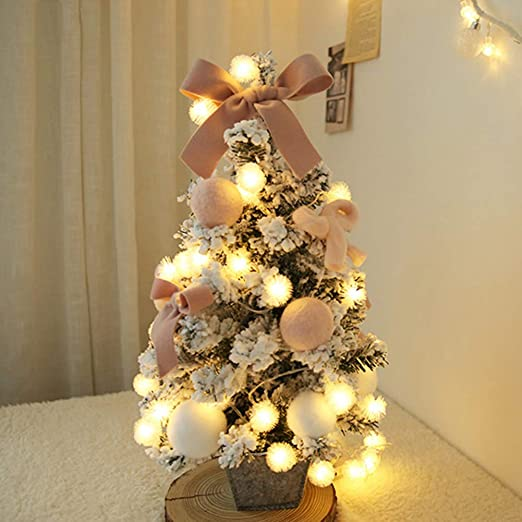 Amazon Com Ssd Mini Tabletop Desktop Christmas Tree Pink Flocked Artificial Xmas Tree With Bows And Baubles Ornaments Decorations 23 6 Inch Tall Pink 60cm 24inch Home Kitchen