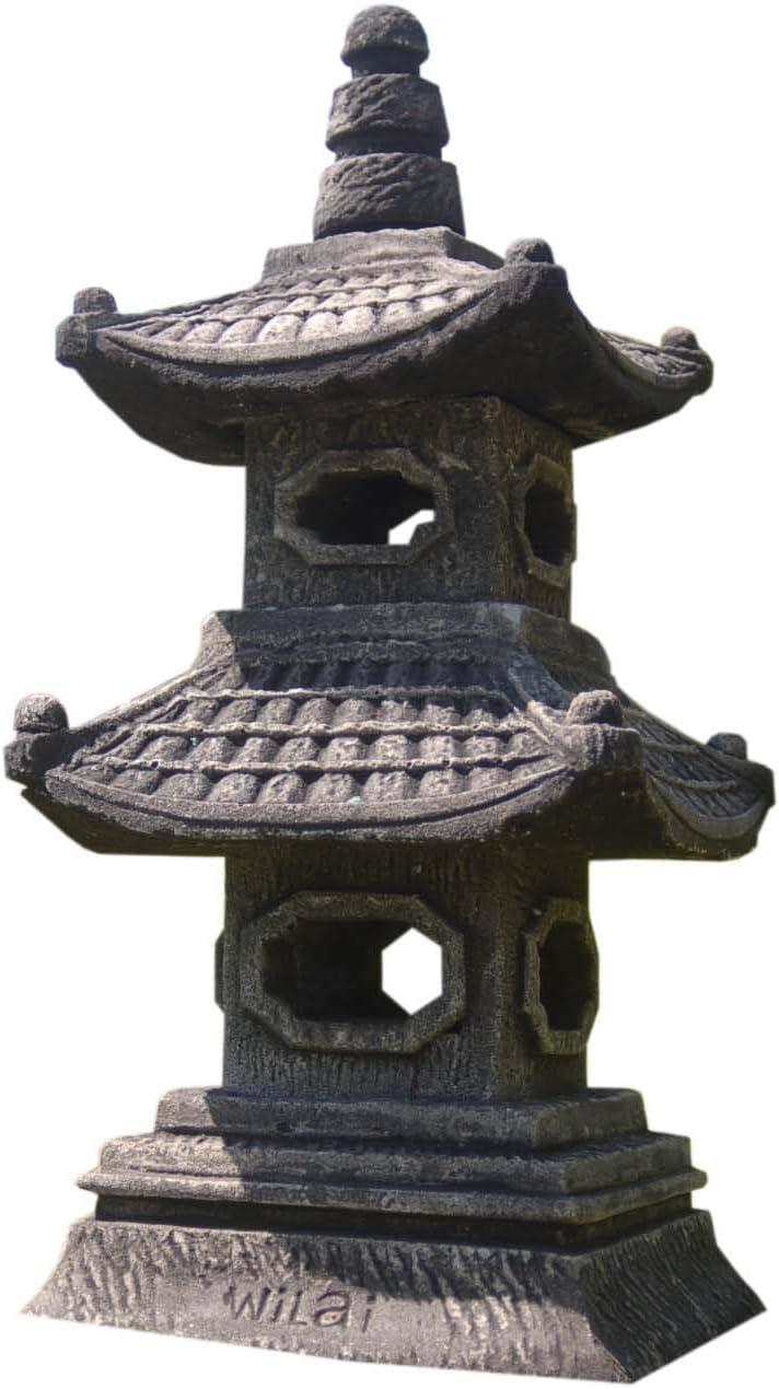 wifash Pagoda, decoración de jardín Lámpara Japonesa Gris 2 Niveles, Farol Importado de Tailandia (10514): Amazon.es: Jardín
