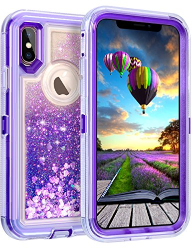 Coolden Case for iPhone X Case Protective Glitter Case for Women Girls Cute Bling Sparkle Quicksand Heavy Duty Hard Shockproof TPU Cover for 5.8 Inches Apple iPhone X iPhone 10, Purple