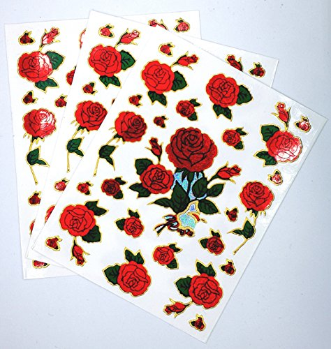 3 Sheet Red rose sticker Size 4 x 5.5 Inch./Sheet