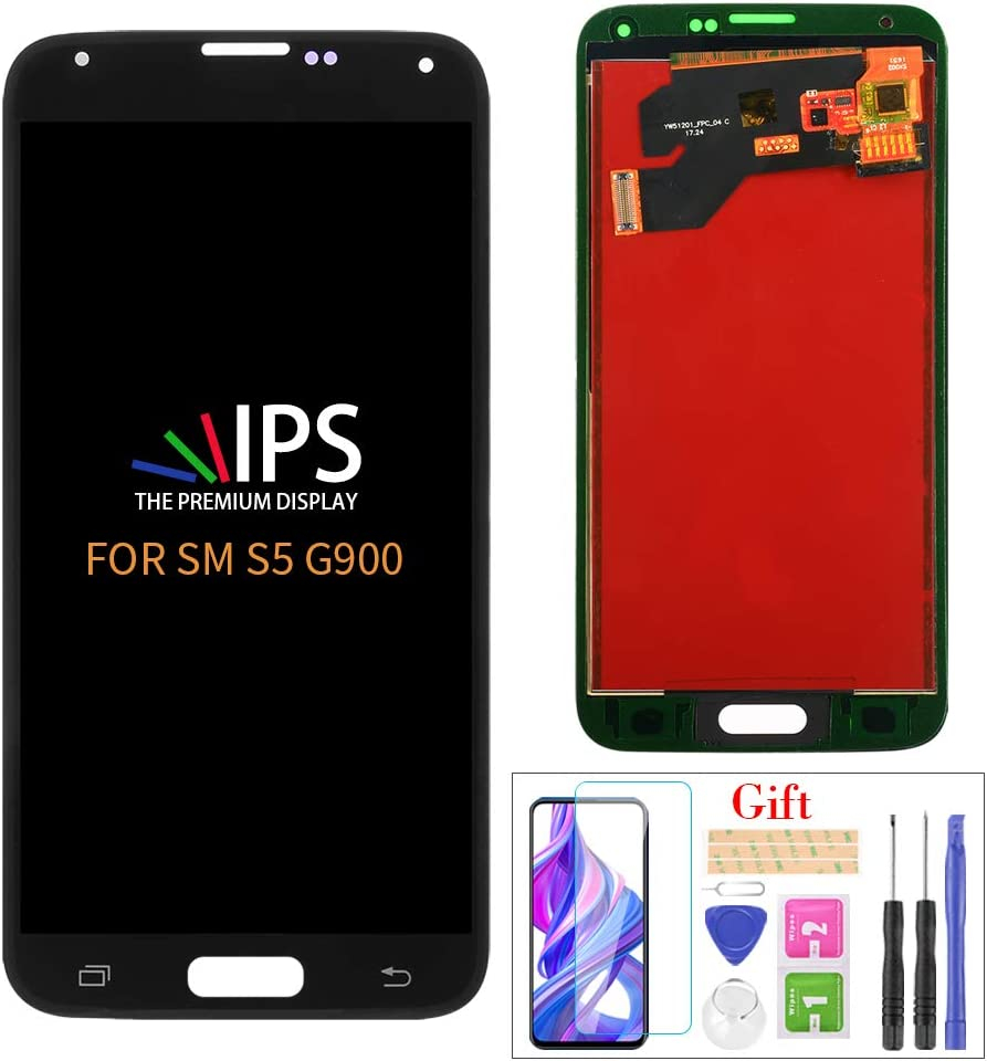 A-MIND for Samsung Galaxy S5 G900 Screen Replacement(Not Original),for Samsung Galaxy G900M G900V G900A G900T G900FD Touch Screen Digitalizer & LCD Repair Parts Kit,with Screen Protector+Tools(Black)