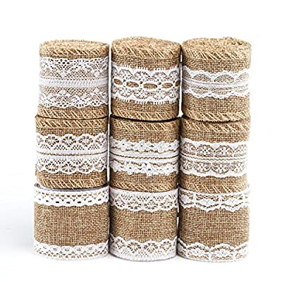 Naler Burlap Ribbon Roll with White Lace Trims Tape for Arts Crafts Homemade DIY Projects Gift Wrapping Christmas Decorations 79 inches Long, 9 Packs