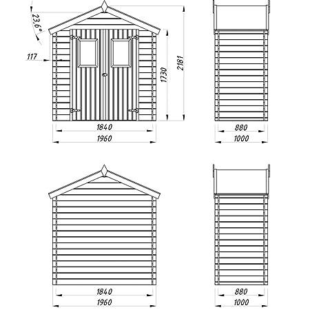 Festnight Caseta de exterior para el jardín 2x1m de madera 19mm: Amazon.es: Electrónica