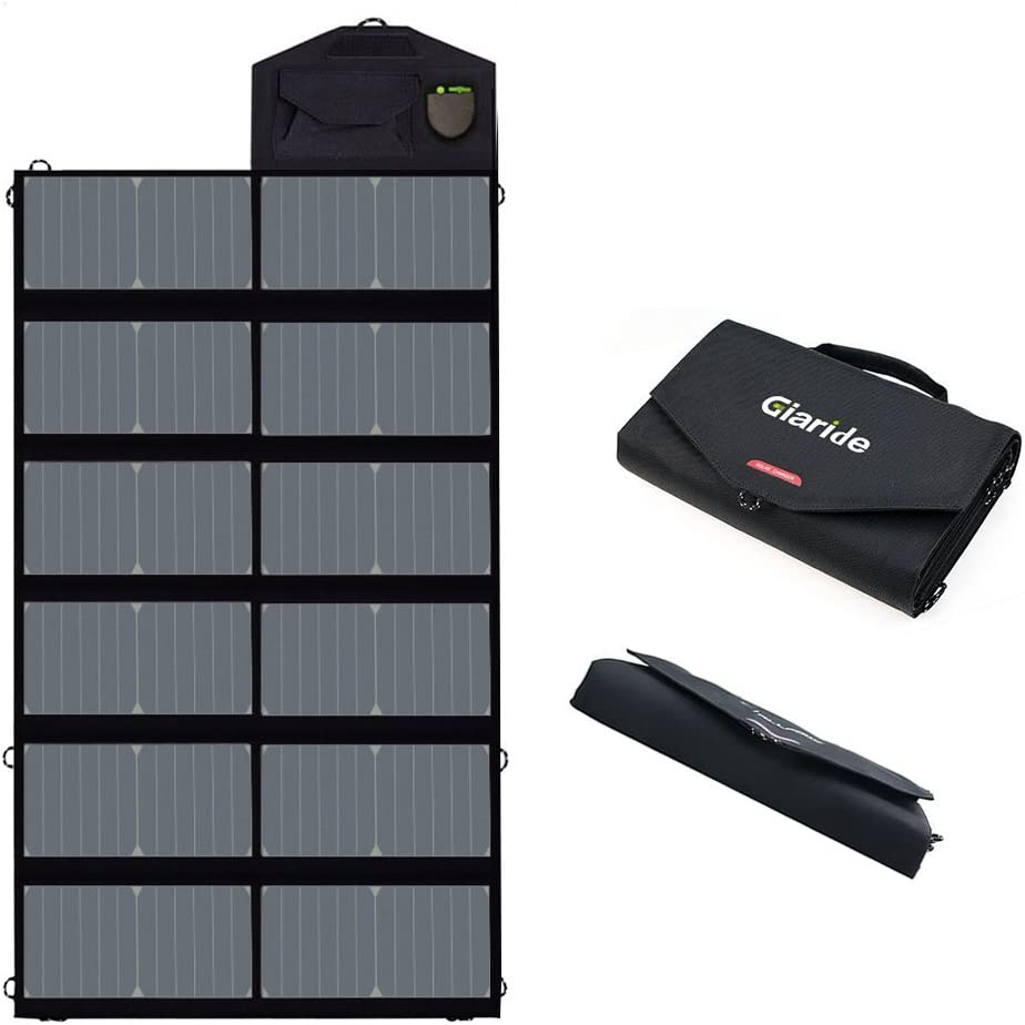 GIARIDE Foldable Solar Charger Sunpower Solar Panel 18V 80W Outdoor Portable Charger Camping Travel Charger Dual USB+18V DC Output for 12V Car Battery, Laptop, Tablet, iPhone, Galaxy, iPad, Camping