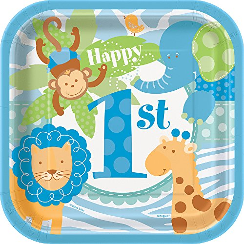 Blue Safari First Birthday Dessert Plates, 10ct