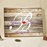 Rustic Wedding Guest Book Alternative Wood Pattern with Anchor Canvas Guestbook Sign Customized Guestbook for Wedding Decorations