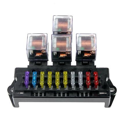 amazon com: docooler 10 way fuse box 5-pin socket base relay fuse holder  block with 13pcs standard blade fuses universal: automotive