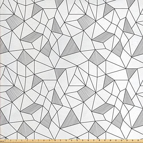 - Ambesonne Abstract Fabric by The Yard, Surreal Doodle Drawing Style Geometric Pattern Line Art Cubism Inspired Design, Decorative Fabric for Upholstery and Home Accents, Black White